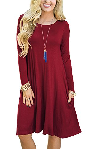 Grecerelle Womens Long Sleeve Casual Loose Swing Dress Wine Red Xl
