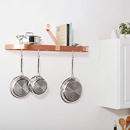 """Wall-Mount Pot Rack with Grid & 12 Hooks, Satin Copper, 36"""" x 9"""" x 10.75"""""""