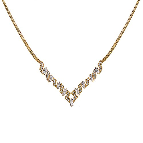 1.90 Carat Tapered Baguette And Round Cut Diamonds Necklace 14K Yellow Gold 14k Yellow Tapered Baguette