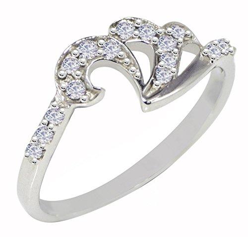 Banithani 925 pierre cz en argent massif anneau de bande étonnante nouvelle femmes de mode indien bijoux