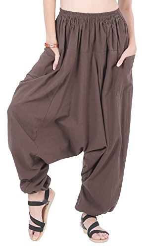CandyHusky Men Women 100% Cotton Loose Baggy Boho Gypsy Aladdin Yoga Harem Pants (Dark Brown)