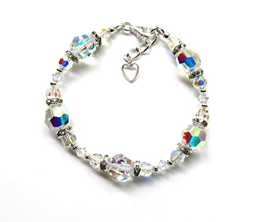 Swarovski Crystal Bracelets for Women, Aurora Borealis Crystals from Swarovski Bracelet Gift for Wife for Mother Birthday Gift for Girlfriend ()