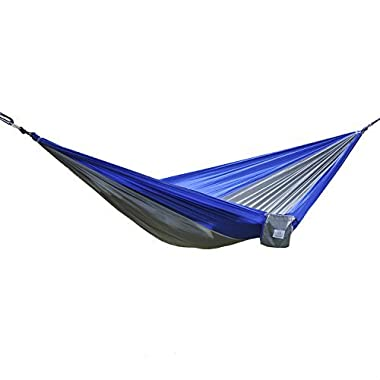 OuterEQ Portable Parachute Nylon Fabric Travel Camping Hammock For Double Two Person Blue/grey