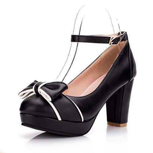BalaMasa Womens Assorted Colors Bows Travel Urethane Pumps Shoes APL10656 Black