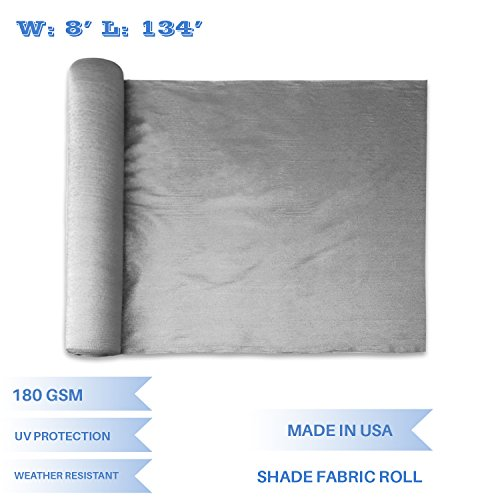 - E&K Sunrise 8' x 134' Light Grey Sun Shade Fabric Sunblock Shade Cloth Roll, 95% UV Resistant Mesh Netting Cover for Outdoor,Backyard,Garden,Greenhouse,Barn,Plant (Customized