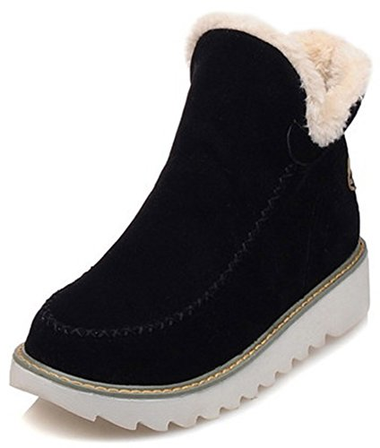 IDIFU Womens Warm Low Wedge Heel Faux Suede Pull On Round Toe Short Ankle High Boots Black 5kyE3Rd7R
