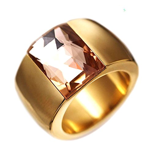 14mm Wide 316L Stainless Steel Crystal Titanium Wedding Ring for Women (Gold 9) (Wedding Mm 14 Band)