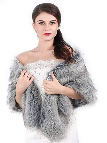 Chicer Bride Wedding Faux Fur Shawls and Wraps Bridal Fur Scarf Stoles for Women and Girls (Grey)