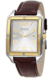 Caravelle by Bulova Men's 45B108 Silver Dial Leather Strap Watch