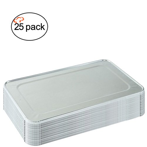 TigerChef TC-20441 Aluminum Foil Lids for Full Size Steam Table Pans with Recipe Card, 21 x 13 Size, Full Size Lids (Pack of 25)