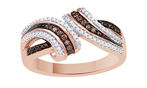 Brown & White Natural Diamond Fashion Ring In 10K Solid Rose Gold (0.25 Ct)