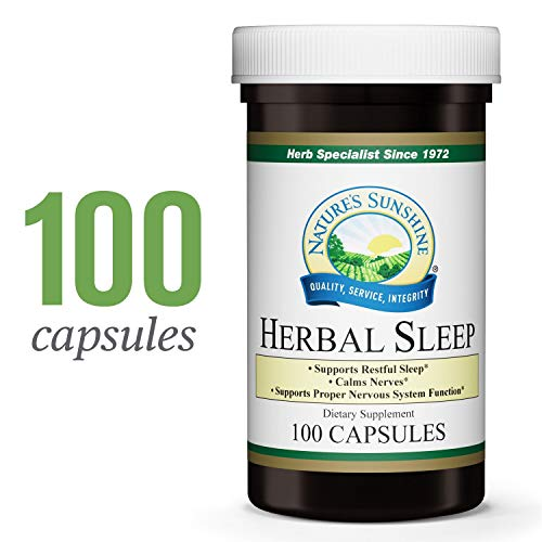 Nature's Sunshine Herbal Sleep, 100 Capsules | Promotes Proper Nervous System Function, Supports Restful Sleep, and Provides Soothing and Calming Properties