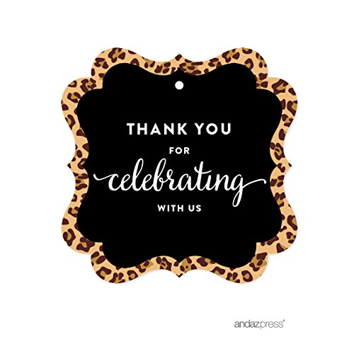 Cheetah Leopard - Andaz Press Birthday Fancy Frame Gift Tags, Thank You for Celebrating With Us, Leopard Cheetah Print, 24-Pack, For Gifts and Party Favors