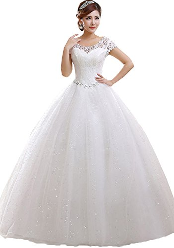 Okaybrial Women's Bridal Dress Wedding Scoop Neck Lace Top Cap Sleeveless Tulle Vestido De Novia Ivory