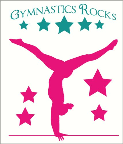 Wall Decor Plus More WDPM2498 Balancing Gymnast With Stars and Gymnastics Rocks Girls Room Wall Sticker Over 4-Feet Tall, Turquoise/Hot Pink