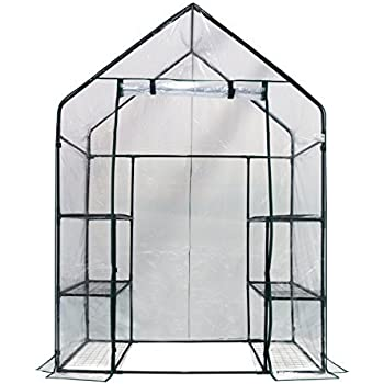 Homewell LF69005 Mini Walk-In Greenhouse with 3 Tiers 6 Shelves, (56L x 29W x 77H-Inches)