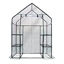 "Homewell Mini Walk-In Greenhouse 3 Tiers 6 Shelves, 56""W x 29""D x 77""H"