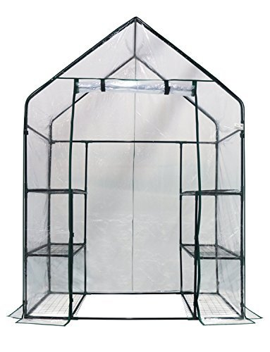 Homewell LF69005 Mini Walk-In Greenhouse with 3 Tiers 6 Shelves, (56L x 29W x 77H-Inches) (Portable Greenhouse)