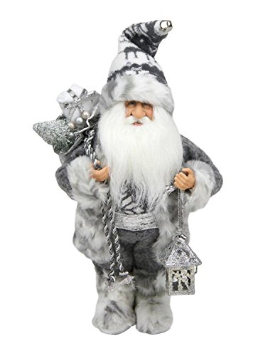 Northlight Alpine Chic Standing Santa Claus in Gray/White with A Bag and Lantern Christmas Figure, 12
