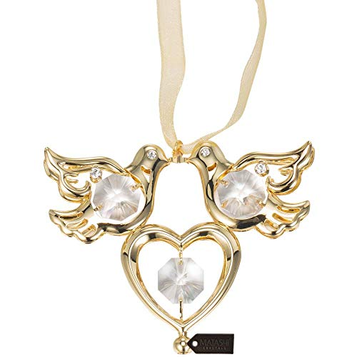 Matashi Crystal Studded Love Doves Birds Ornament, Best Love Symbol Gift (Gold Plated)