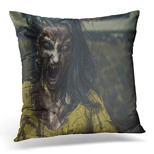 Emvency Throw Pillow Cover Horror Monster Zombie Scream Ghost Scary Woman Girl Evil Decorative Pillow Case Home Decor Square 18
