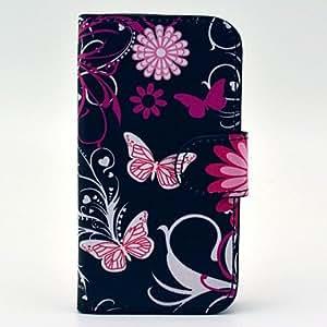 Exquisitas flores y círculos patrón pu estuche de cuero con la ranura para tarjeta de la carpeta para Samsung Galaxy S3 I8190 mini-