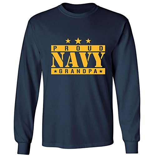 ZeroGravitee Proud Navy Grandpa Adult Long Sleeve T-Shirt In Navy - XX-Large
