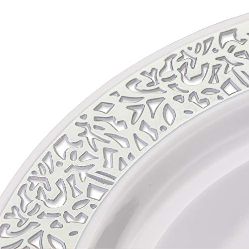Your Gatherings - 606pc/100 Guest Silver Premium Disposable Wedding Dinnerware Set   100 Dinner Plates, 100 Dessert Plates, 200 Forks, 100 Spoons, 100 Knives, (100 Guest Set, Silver) by Your Gatherings (Image #1)
