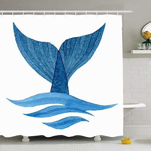 (Ahawoso Shower Curtain 66x72 Inches Label Blue Fish Whale Tail Wave Watercolor Wildlife Nature Ocean Sea Diving Water Species Vanishing Waterproof Polyester Fabric Set with Hooks)
