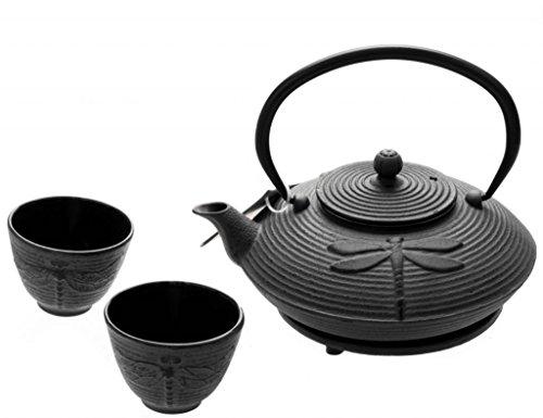 M.V. Trading New Star International T8130 Cast Iron Dragonfly Tea Set with Trivet, 27 oz, Black