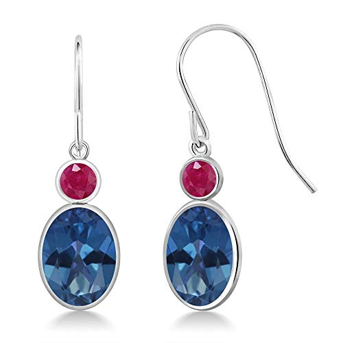 - Gem Stone King 3.48 Ct Oval Royal Blue Mystic Topaz Red Ruby 14K White Gold Earrings