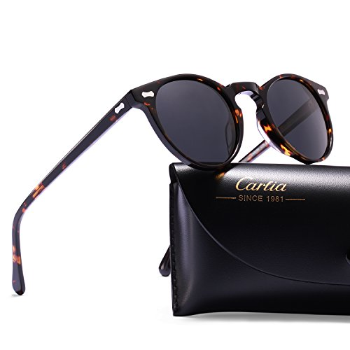Carfia Vintage Polarized Sunglasses for Women Men, 100% UV400 - Modern Sunglasses