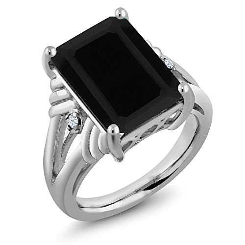 - Black Onyx & White Created Sapphire Gemstone 925 Sterling Silver Women's Ring (7.39 Cttw Emerald Cut Available 5,6,7,8,9) (Size 8)