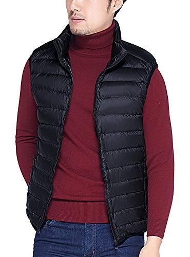 AIEOE Mens Padded Gilet Winter Warm Down Vest Soft Ultralight Puffer Jacket Coat Black