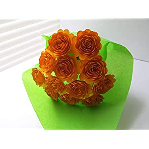 """Gold Carnations on Stems, Fall Bouquet of 12 Scalloped Paper Roses, 1.5"""" Flowers, Autumn Thanksgiving 27"""