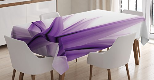 Flower Decor Tablecloth by Ambesonne, Purple Ombre Long Leaves Water Colored Print with Calming Details Image, Dining Room Kitchen Rectangular Table Cover, 60 W X 84 L Inches, Purple and White (Dining Room Setting Ideas)