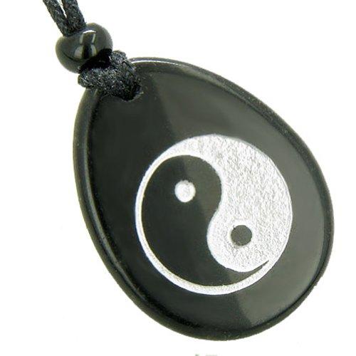 Lucky Ying Yang Balance - Lucky Ying Yang Balance Amulet Black Agate Word Stone Pendant Necklace