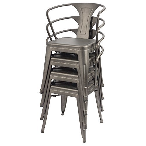 Furmax Metal Dining Chair Tolix Style Indoor Outdoor Use Stackable Chic Dining Bistro Cafe Side Metal Chairs Set of 4(Gun) by Furmax (Image #7)