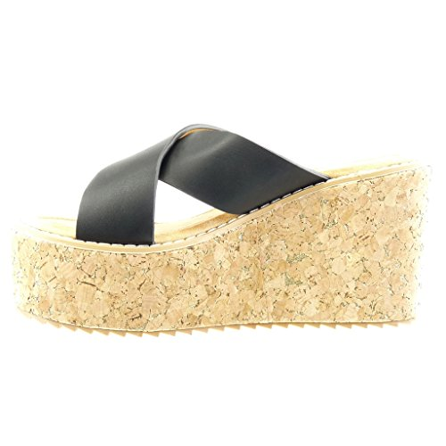 Angkorly Mode Chaussures Mules Sandales Coins Femme Cork Thong Wedge Talon Plate-forme 9.5 Cm - Noir