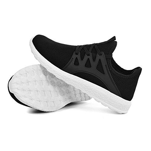 Mxson Womens Sneakers Ultra leichte atmungsaktive Mesh Sport Gym Wanderschuhe Schwarz-Weiss