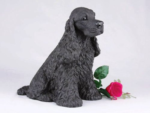 Cocker Spaniel Black Cremation Pet Urn for secure installation of your beloved pet's ashes indoors or outdoors