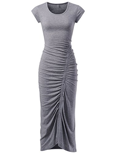 (NEARKIN (NKNKWBD801 Womens Cap Sleeve Figure Hugging Scoop Neck Shirred Maxi Dress Gray US S(Tag Size M))