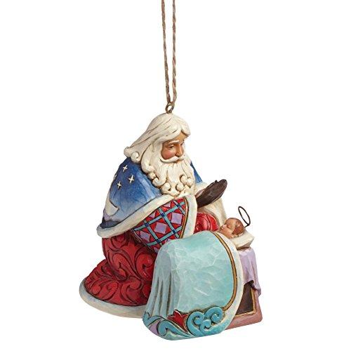"""Jim Shore Heartwood Creek Santa with Baby Jesus Stone Resin Hanging Ornament, 3.25"""""""