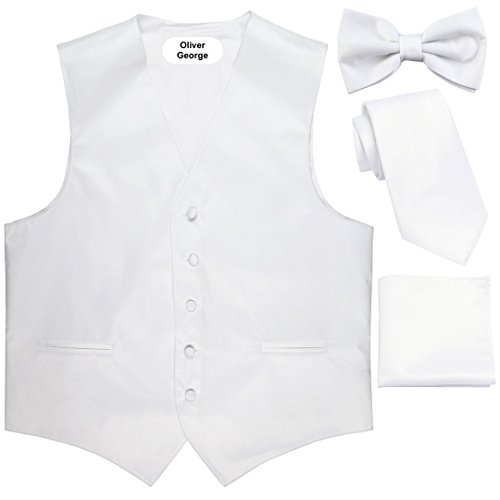 Oliver George 4pc Solid Vest Set-White-L