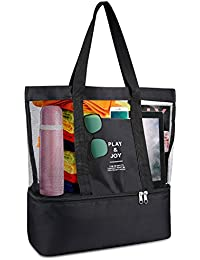 Mesh Beach Bag, SKL Large Toy Tote Bag Grocery & Picnic Tote with Removable Cooler