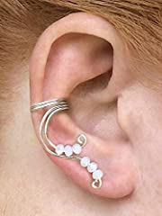 These beautiful handmade fairy ear cuffs will add the perfect unique element to a elf or fairy costume, or any elegant outfit! Pictured are examples of my lovely fairy ear cuffs in silver-plated wire with cream/off-white beads.       ...
