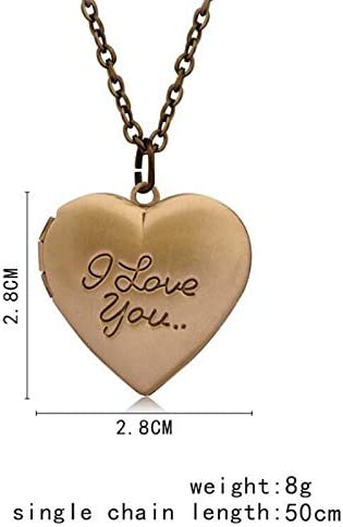 Retro Engraved I Love You Lockets Necklace Heart Shape Pendant with May Birthstone Crystal