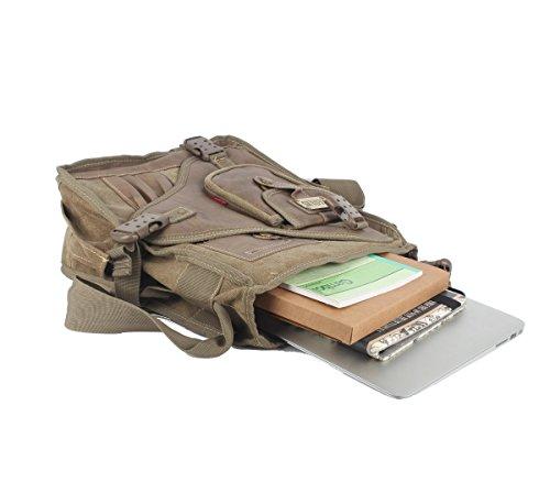 negro caqui L hombro Hombres lienzo bolsa mensajero innturt Marrón de Pack día qP8wCpS