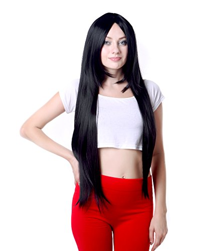HDE Women's Wig Long Straight Hair Wig (32 Inches Total Length) with Included Wig Cap Synthetic Halloween Cosplay LARP Costume Accessory (Black) ()