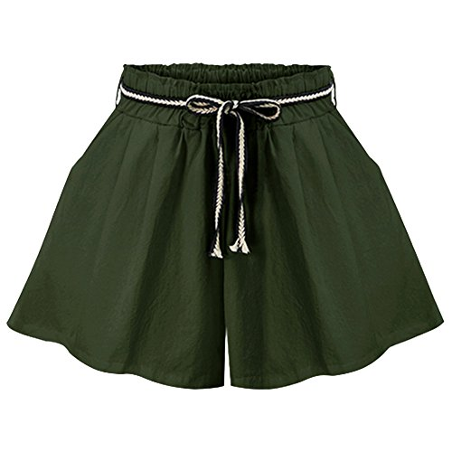 Sportivi Qitun Vita Estate Hot Donna Pants Pantaloncini Shorts Casuale In Elastico Corti Verde nfYT6Ffwq